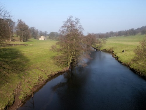Chatsworth Park and the River Derwent near Calton Lees.