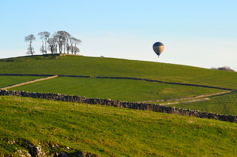 Hot air balloon near the Tissington Trail