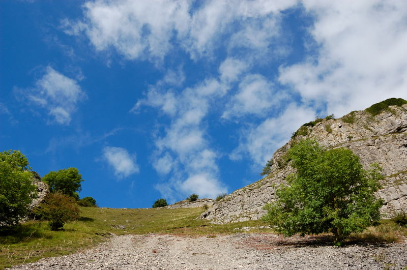 Looking up a scree slope in Lathkill Dale to the limestone escarpment that overlooks much of the dale in this area