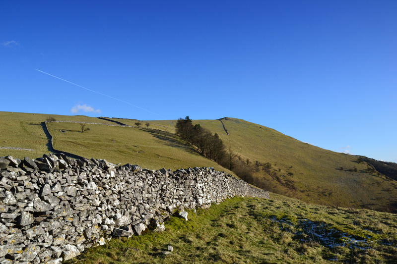 The wall marking the boundary of the Open Access Land high above Milldale.