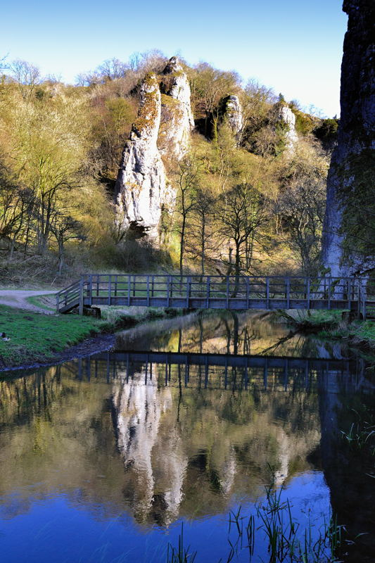 Pickering Tor, Ilam Rock and Footbridge over the River Dove