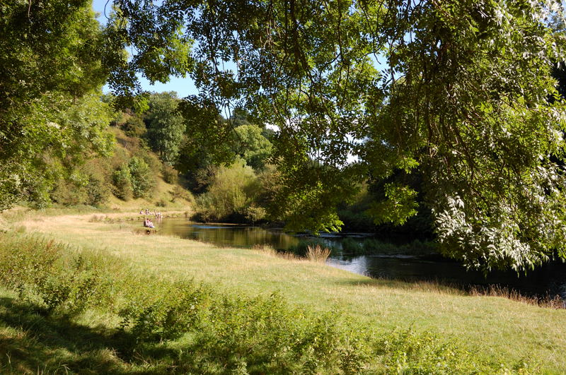 During dry summers the River Lathkill may not appear above ground until reaching the springs at Psalm Pool