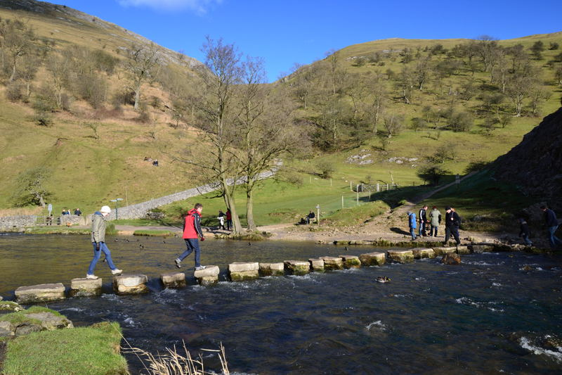 Stepping Stones on the River Dove at Dovedale with their New Limestone Blocks