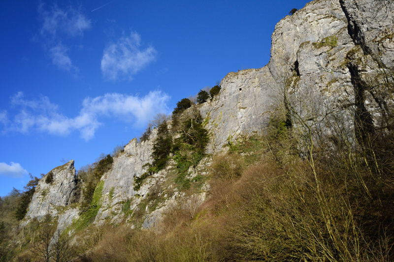 Tissington Spires, popular with rock climbers including the unusually named Ten Craters of Wisdom climb