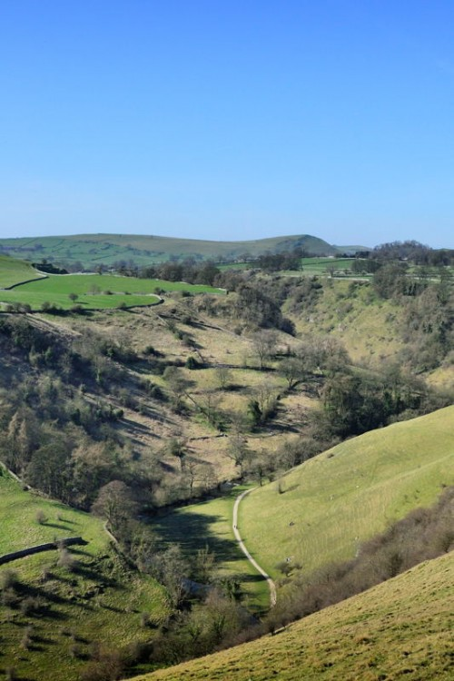 Aerial View of the path through Dovedale approaching Milldale