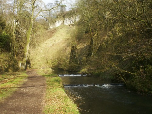 Beresford Dale, looking upstream towards Pike Pool and the rocky tor that gave this area it's name