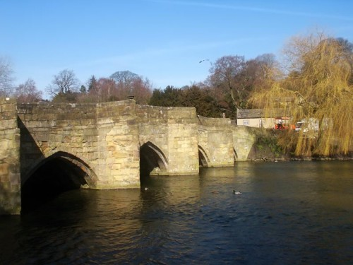 The Five Arched Bridge is one of two stone bridges crossing the Wye at Bakewell. It is believed to be the oldest stone bridge in the county, thought to date from around 1300.