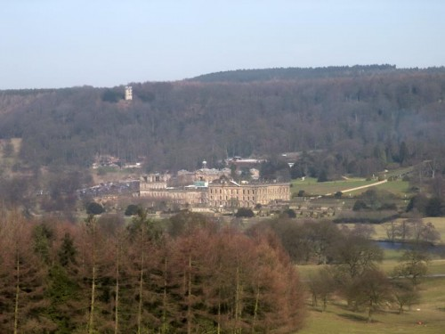 Chatsworth House from Chatsworth Park just below New Piece Wood