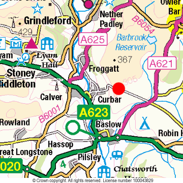 Curbar Gap Location Map