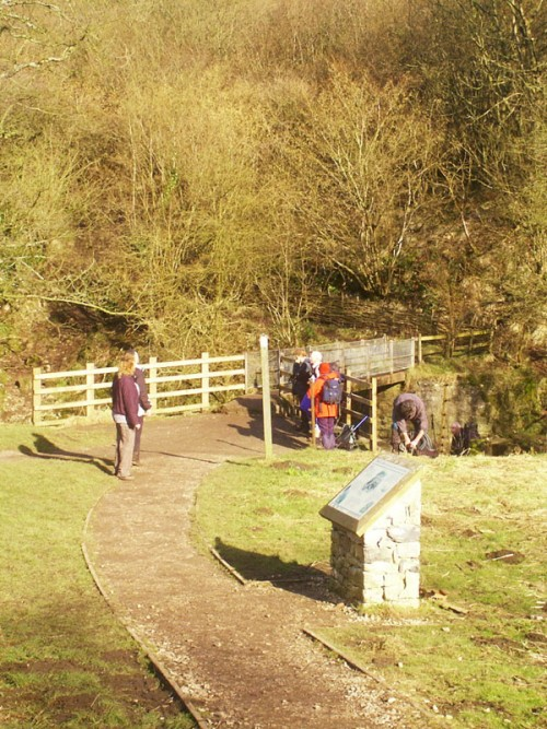 The footbridge leading off the cycle track up to Thors Cave and onto the village of Wetton