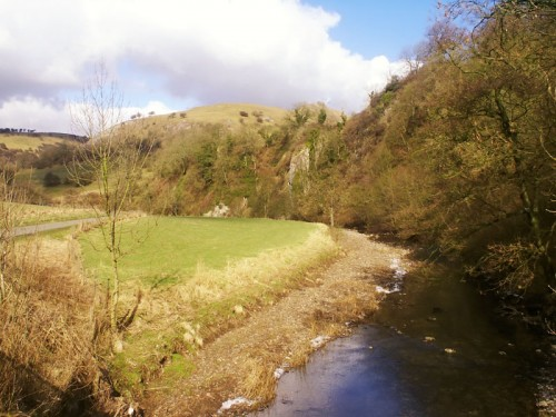 The River Manifold shortly before it disappears underground to reappear at Ilam Hall