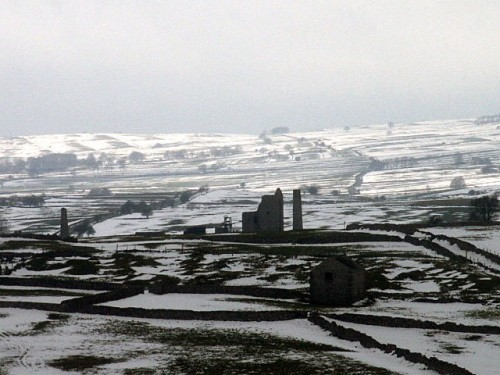 A snow storm sweeps over Magpie Mine