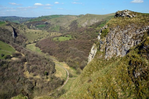 The Manifold Valley and Cycle Track from the Rocky Tor above Thor's Cave
