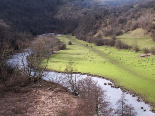 Monsal Head is at the head of a large horseshoe bend in the River Wye. This is the view from the viaduct looking west