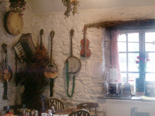 The Old Smithy Tea Room, Monyash. The tea rooms have a musical theme. Ed before he sadly died was in a folk band that would play at venues around the area.