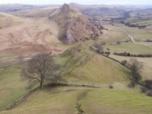 Looking down the ridge of Chrome Hill to Parkhouse Hill