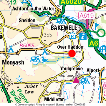 Over Haddon Location Map