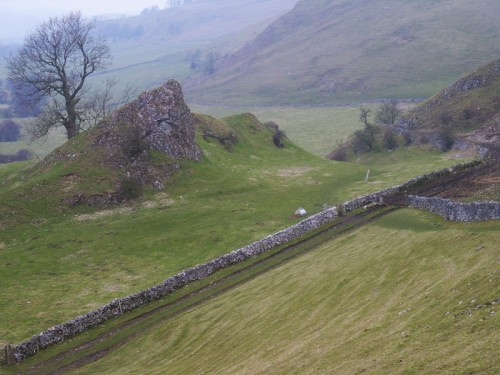 Pilsbury Castle, a motte and bailey castle it was built on a rocky limestone knoll in a commanding position overlooking the Dove valley