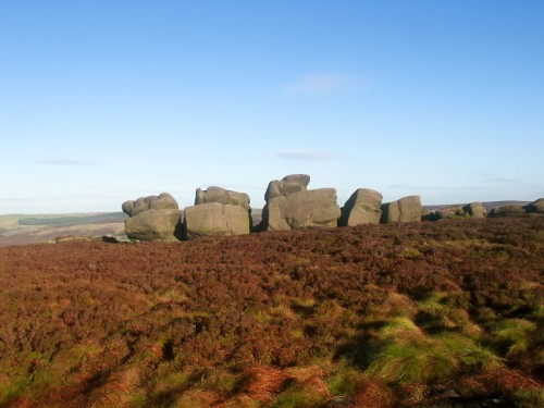 Rocky tors on The Roaches shaped by the wind and rain