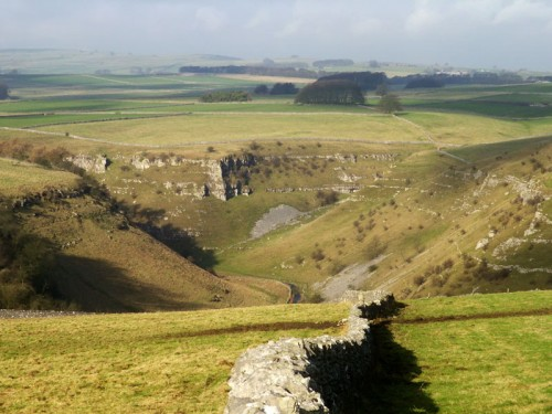 Cale Dale joins Lathkill Dale looking from the slopes of Calling Low