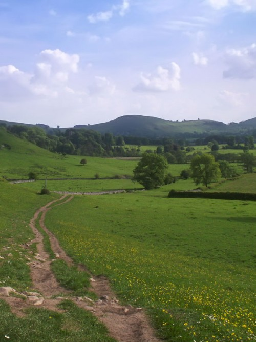 The footpath from Hartington leads over fields towards Beresford Dale. The valley here is quite wide, but it soon narrows when it enters the dale