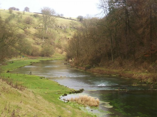 Lathkill Dale. The river here is a popular for trout fishing, weirs have been built to create small pools